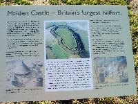 English Heritage Sign at entrance to Maiden Castle - link to larger file (365kb)